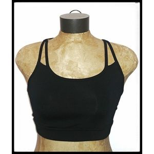 Gaiam Shine Black Wire Free Yoga Sport Bra Sm